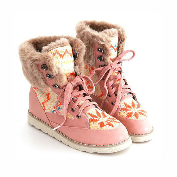 shoes boot flat leisure warm mixed color