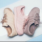 shoes,pink,sneakers,pink sneakers,nude sneakers,workout,low top sneakers,adidas shoes,suede sneakers,suede,neutral,adidas