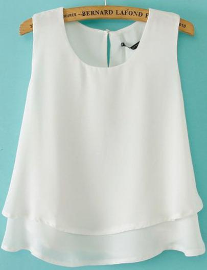 White Sleeveless Double Layer Chiffon Vest - Sheinside.com