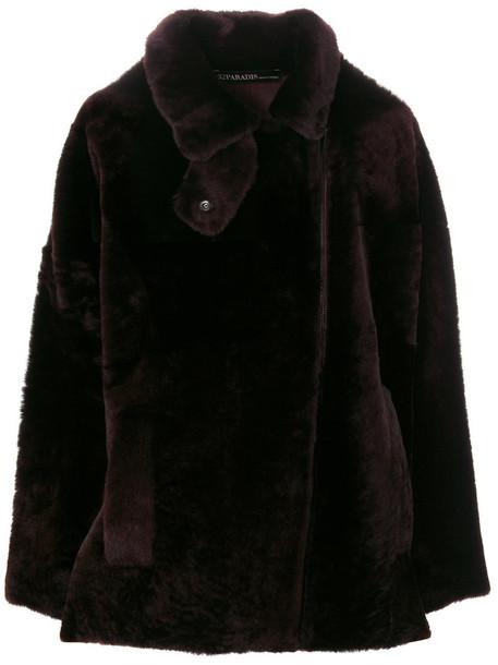 32 PARADIS SPRUNG FRÈRES coat fur fox women leather brown