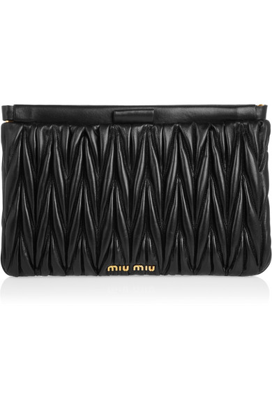 Miu Miu|Matelassé leather clutch|NET-A-PORTER.COM
