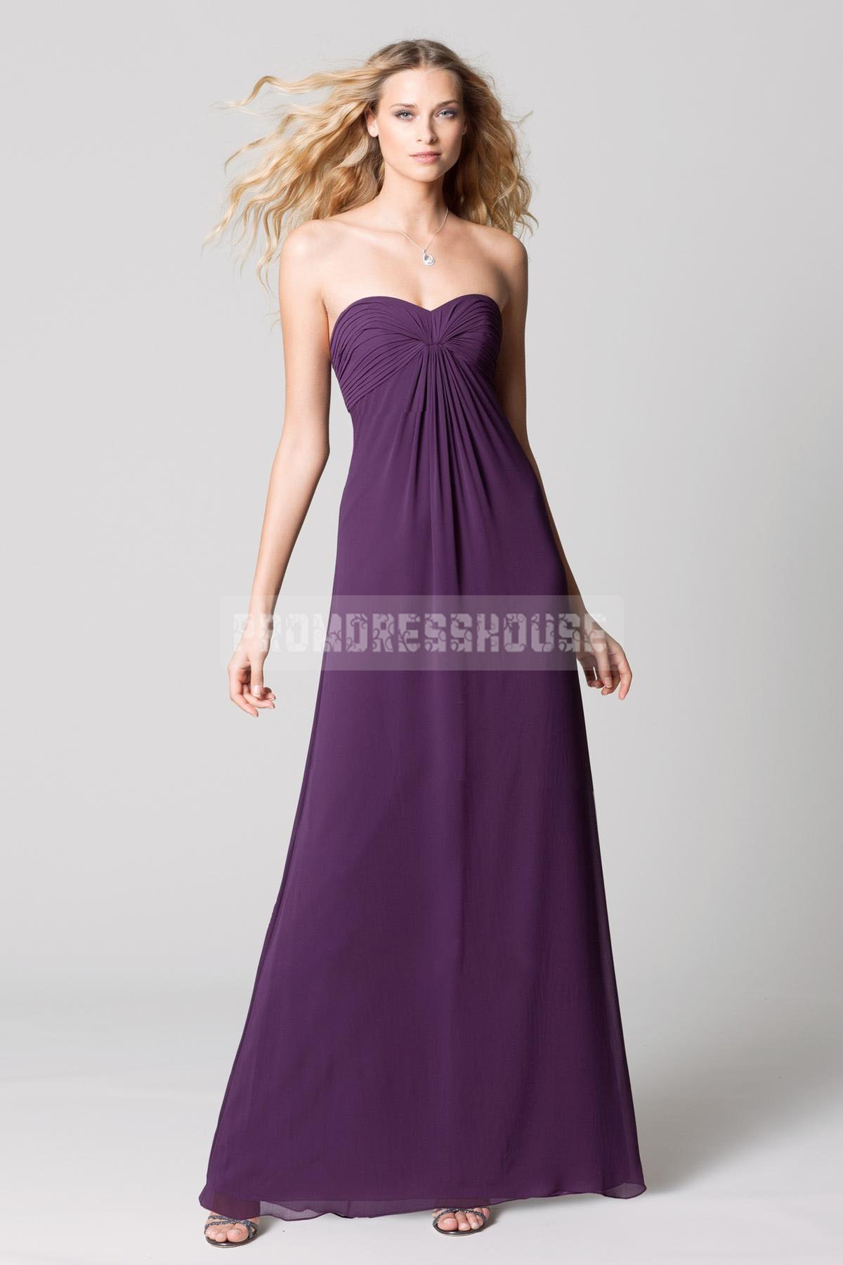Classical Chiffon Long Grape Strapless A-line Ruched Bridesmaid Dress - Promdresshouse.com
