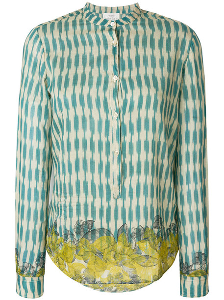 Forte Forte shirt embroidered women cotton blue silk top