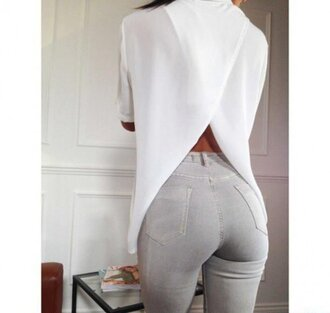 blouse clothes white grey jeans