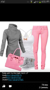 jeans,pretty,cute,pink,jacket,girly,outfit,bow,sweater,shoes,pink jeans