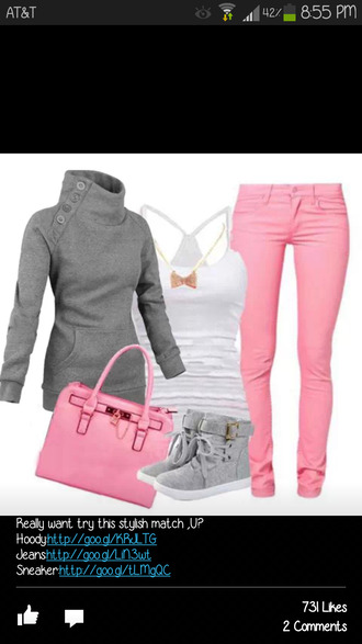 jeans pretty cute pink jacket girly outfit bow sweater shoes pink jeans