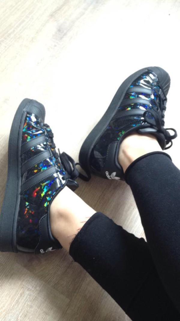 adidas superstar zwart met glitters