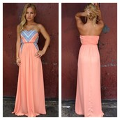 dress,pink,beautiful,tribal pattern,bright,maxi,long,strapless,coral,blue