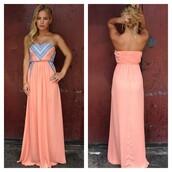 dress,pink,beautiful,tribal pattern,bright,maxi,long,strapless,coral,blue