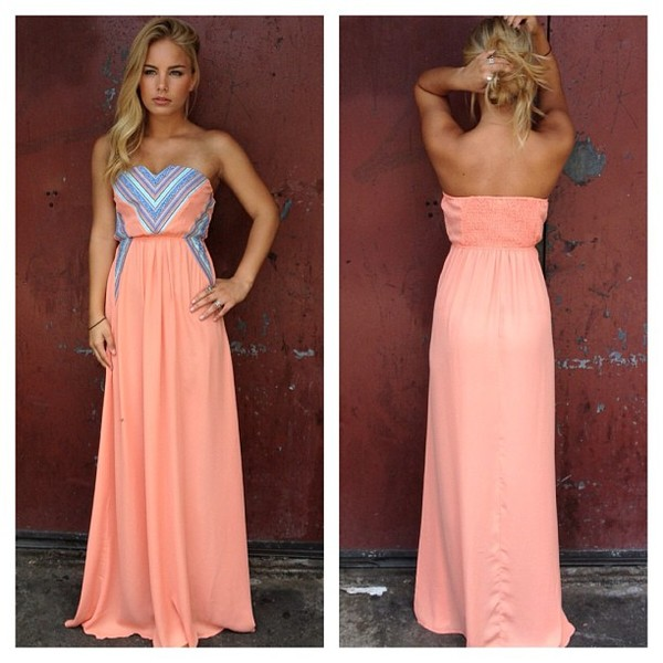 Dress: pink, beautiful, tribal pattern, bright, maxi, long ...