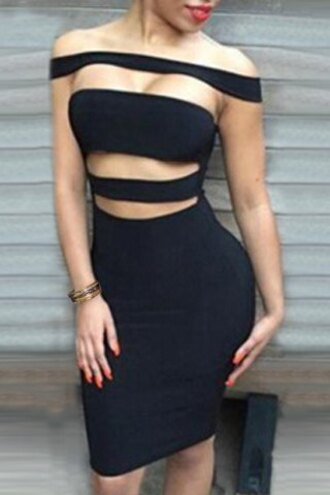 dress fashion black bodycon sexy cut-out hot party feminine