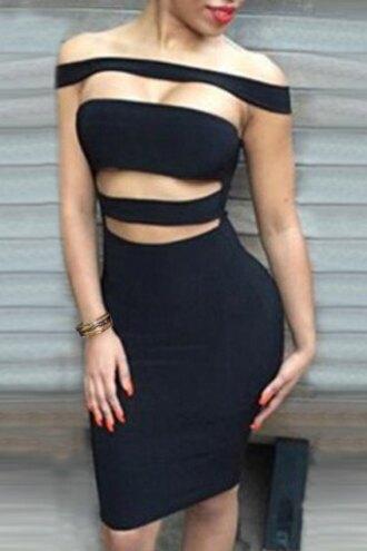 dress fashion black bodycon sexy cut-out hot party feminine