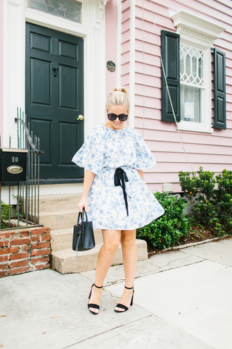 living in colorprint blogger dress romper shoes bag sunglasses sandals high heel sandals mini dress fall outfits