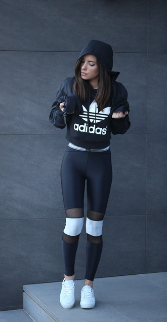 toybox by christina blogger leggings adidas adidas sweater workout leggings workout white sneakers sportswear sports leggings streetstyle diesel black cut out mesh