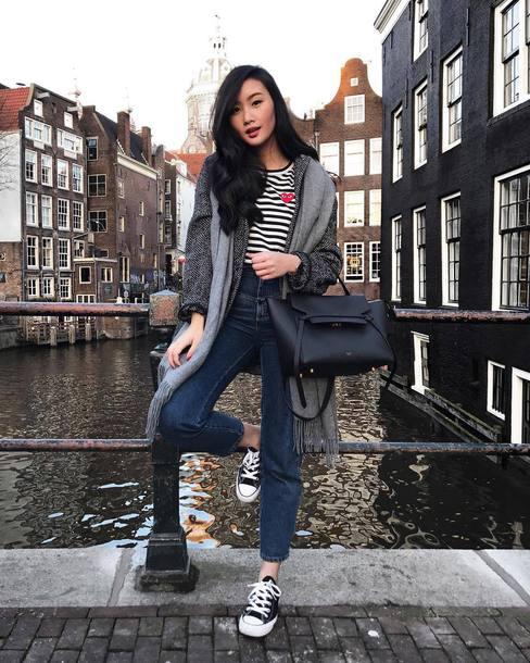 top tumblr stripes striped top denim jeans blue jeans sneakers black sneakers converse black converse bag coat grey coat