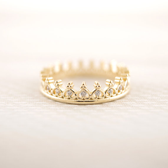 Gold/ silver/ pinkgold  cz crown ring by bkandjio on etsy