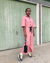 jumpsuit,pink jumpsuit,sneakers,bag