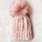Faux fur pom pom hat - pink