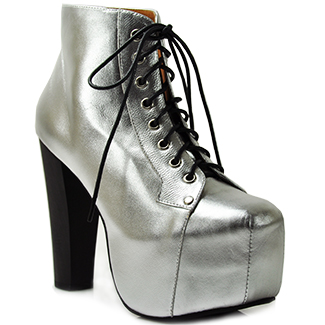 Silver metallic platform bootie