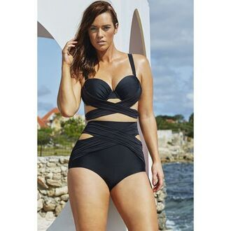 swimwear black sexy wrap baithing suit baitingsuit cut-out