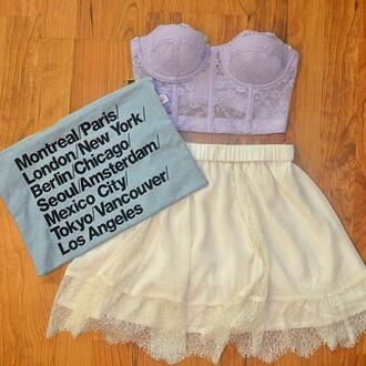 tank top bustier bralette crop top lace skirt