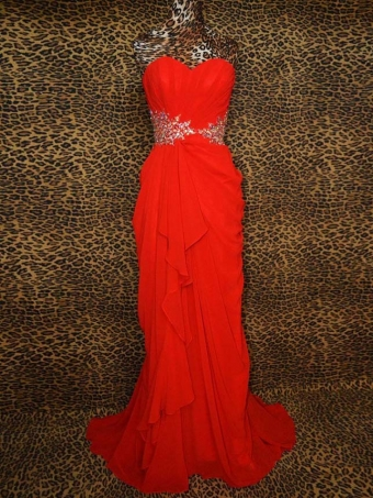 Elegant Sexy Red Chiffon irregular Prom Dress [B0029] - $188.99 : 24inshop