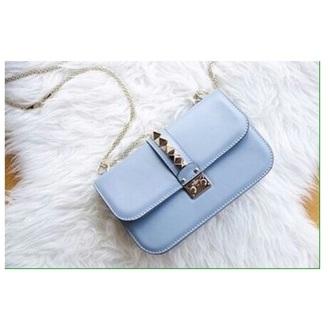 bag blue purse gold blue bag