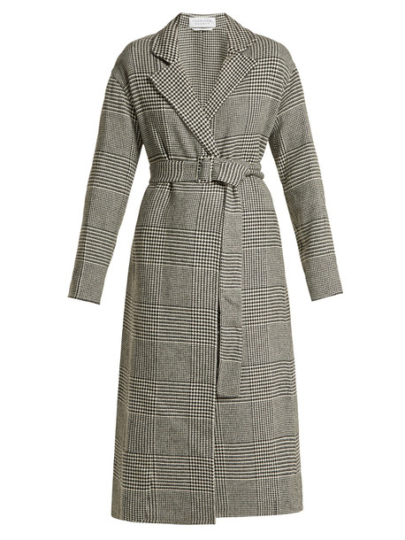 GABRIELA HEARST Souza cashmere belted coat in black / white