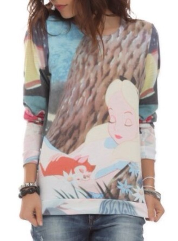 sweater disney disney disney punk alice in wonderland