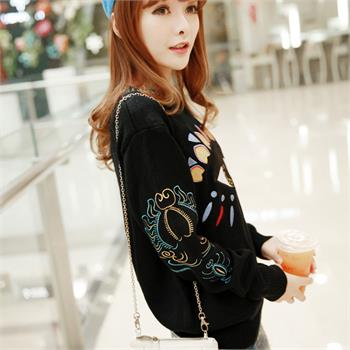 Women Long Sleeve Knit Tops Round Neck Big Eye Pattern Sweater Colorful Pullover | eBay