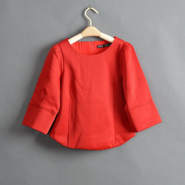 coat clothes spring red blouse