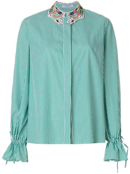 VIVETTA shirt women drawstring cotton green top