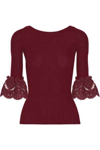 oscar de la renta top lace wool burgundy