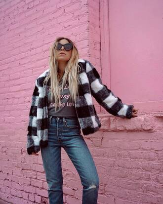 jacket tumblr fur jacket faux fur jacket t-shirt grey t-shirt denim jeans blue jeans sunglasses checkered tartan