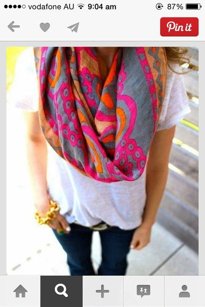 scarf grey grey gold floral pink orange dress blouse accessories multi color scarf infinity scarf pretty scarf love