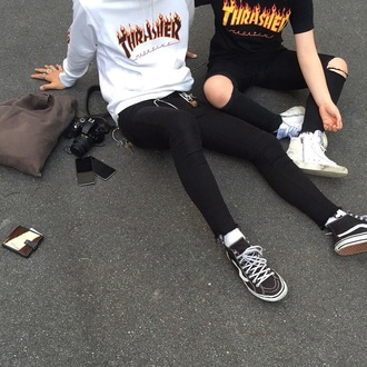 shirt thrasher t-shirt sweater thrasher shirt flames white top black top