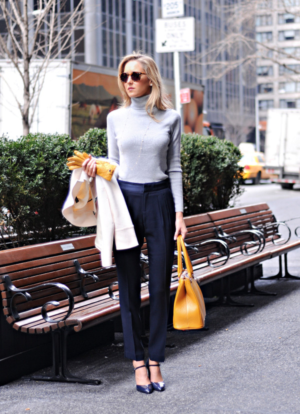 the classy cubicle bag pants sweater coat jewels shoes sunglasses
