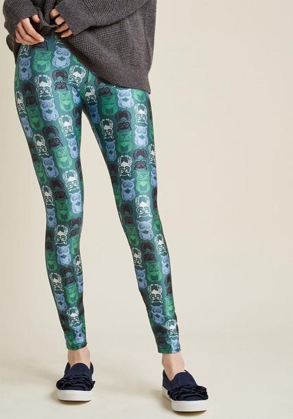 leggings owl sassy colorful print green pants