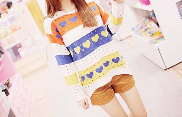 kfashion sweater ulzzang stripes heart hearts💜💕