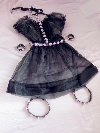 dress chiffon cute cult party kei pastel goth belt kawaii jewels goth lovely pale grunge beatufiul pastel dress kawaii dress cute dress