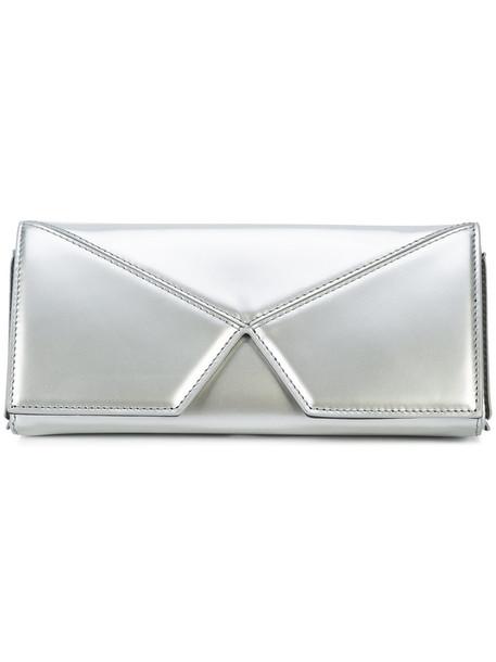 cushnie et ochs women clutch leather grey metallic bag
