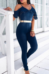 jumpsuit,denim,overalls,belted,tight,silver,blue,off the shoulder,spaghetti strap