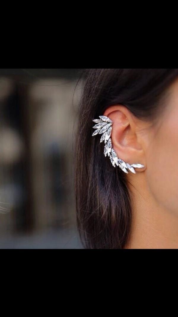 jewels earrings ear piercings silver clear diamonds jewelry wings