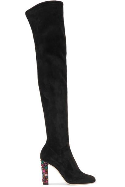 embellished 100 suede black shoes