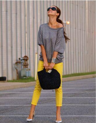 pants yellow pants top grey top bag black bag sunglasses black sunglasses ballet flats flats silver flats cuff bracelet bracelets spring outfits