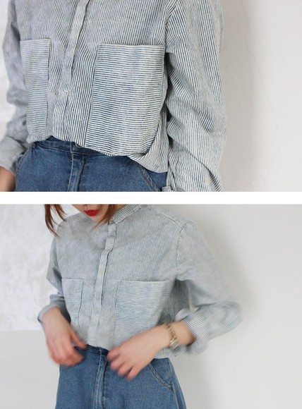 stripe girl blouse top flannel