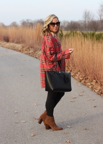 stylin in st. louis blogger top jeans bag sunglasses jewels shoes fall outfits black bag plaid shirt red shirt ankle boots