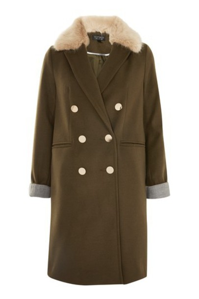 Topshop coat fur collar coat double breasted fur faux fur khaki