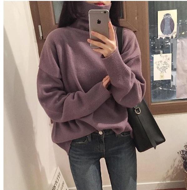 sweater girly sweatshirt jumper tumblr purple knitwear knit knitted sweater turtleneck turtleneck sweater