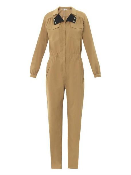 VERONICA BEARD Contrast-lapel twill jumpsuit in khaki